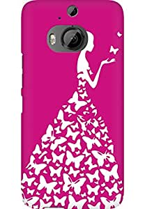 AMEZ designer printed 3d premium high quality back case cover for HTC One M9 Plus (pink and white girl princess)