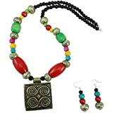 FashionValley Multi Color Wooden Beads with Antique Pendant Necklace for Girls/Women