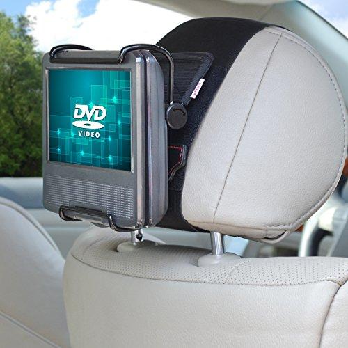 TFY Universal Autokopfstützen Halterung mit Winkelverstellbaren Halterungsklemmen für 7 - 10 Zoll Swivel Display Portable DVD-Player, Schwarz Swivel Headrest Mount