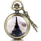JewelryWe Bijoux Pendentif Collier Homme Femme Montre de Poche Romantique Elégant Tour Eiffel Quartz Alliage Fantaisie Couleur Bronze Chaîne Longueur 79cm Avec Sac Cadeau