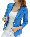 Damen Jäckchen Solide Blazer Jacke Beiläufig Kurzjacke Anzugjacke mit Revers Langarm Kurzjacke Blau 2XL