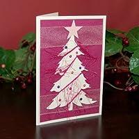 Fatto a mano rosa albero natale biglietti, confezione da 5, commercio equo e solidale