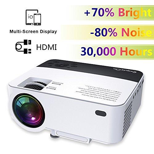 Mini LCD LED Portatile Proiettore - ExquizOn T5, 1800 Lumens Multimedia Home Teatro Video, Proiettore Supporta 1080P HDMI USB SD AV VGA per Portatile HD DVD Lettore Smartphone Cavo