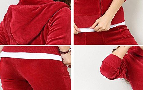 Felpe con cappuccio da donna Zipper Joggers da donna con 2 pezzi in velluto da donna Rosso