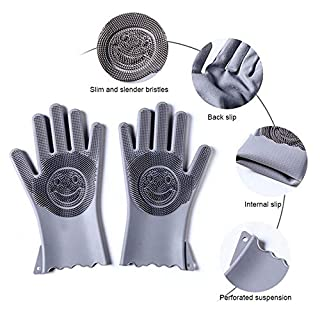 AUOKER Magic Silicone Gloves, Reusable Dishwashing Gloves with Cleaning Brush Scrubber, Heat Resistant,Food -grade Silicon,Soft Durable & Multipurpose,Dish Washing, Cleaning, Fruits, Pets