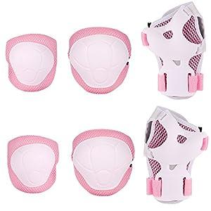 Speedrid Kinder Schutzausrüstung Set, Kleinkind Schutz Helm für Roller Fahrrad Skateboard und Andere Extreme Sportaktivitäten (Knieschoner-Rosa)