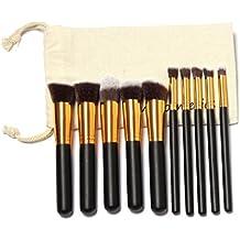 Vovotrade 10 pc-sopracciglia occupazione, ciglia, occhi e pulisce anche le guance make-up-spazzole-set-costituzionale-spazzole-kit Draw string-costituzionale-in busta trasparente (oro)