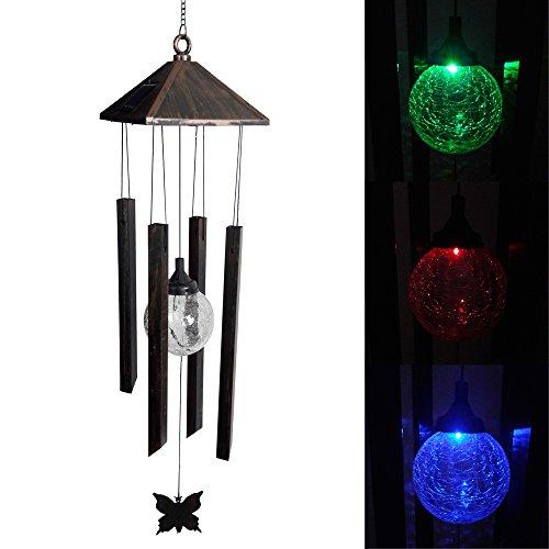 Windspiel, Klangspiel aus Metall mit LED-Farbwechsel Kugel in Bruchglasoptik (Solar betrieben) für den Garten