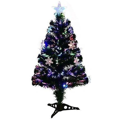 COSTWAY LED Weihnachtsbaum Künstlicher Tannenbaum Christbaum beleuchtet 90/120/150/180cm Grün mit Glasfaser-Farbwechsler (90cm)