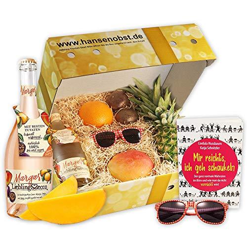 Sommerbox Sommerspaß: Mir reichts mit Fruchtsecco, Buch, Sonnenbrille und Früchten als Geschenk für heiße Sommertage