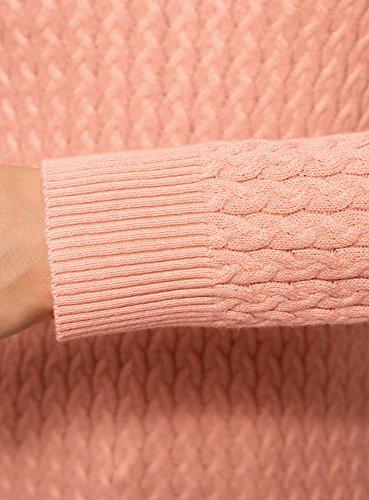oodji Collection Damen Gestrickter Pullover mit Feinem Zopfmuster Rosa (5400N)