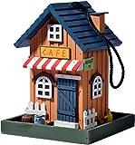 dobar 25109FSC Buntes Deko Vogelhaus Western zum Aufhängen aus Holz, Futterhaus Cafe, bunt