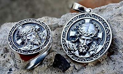 Jésus Pendentif Bague en Argent Sterling .925 Ensemble Dieu Tête Religieux Bijoux Faits à la Main Silverzone77