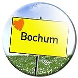 GUMA Magneticum 2632 Magnet Stadt Bochum - Reise Souvenir Ortsschild mit Herz Kühlschrankmagnet Ø 50 mm - Magnete mit Motiv Städte Orte für Kühlschrank Memo Tafel Wand Board