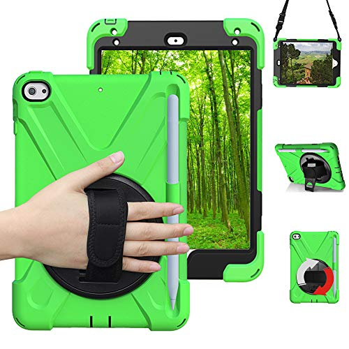 Schutzhülle für ipad Mini 4,iPad Mini 5 Hülle,stoßfest und robust, mit 360 Grad drehbar Ständer,verstellbar Handgurt und Schultergurt,iPad Mini 5 case Grün