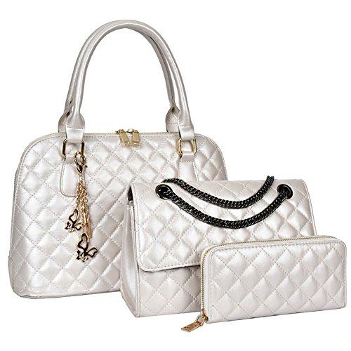 Kette Leder Gesteppte Weiß Handtaschen Set Handtaschen Stück mit Damen Aus Handtaschen Leder Geldbörse Schultertaschen Pu 3 yH0wzW1q5