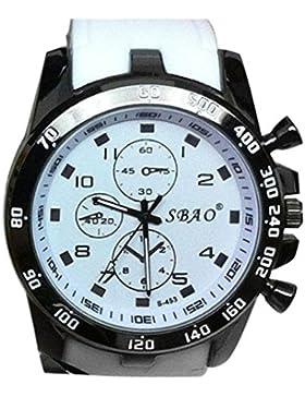 kingko® Männer Mode Armbanduhr Edelstahl Luxus Sport Analog Quarz Weiß
