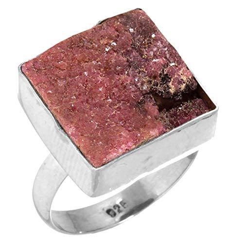 925 Sterling Silber Ring Natürliche Erythrine Druzy Schmuck Größe 60 (19.1) ()