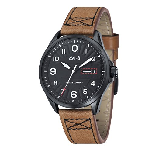 avi 8 Unisex Orologio da polso analogico al quarzo in pelle Hawker Harrier II – AV 4045 – 04
