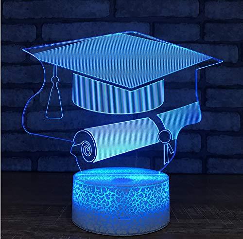 Graduation Gifts Großhandel Bachelor Hut Nachtlichter Usb Led 3D Lampe Kinderzimmer Licht Weiß Basis Schöne 7 Farbwechsel Kinder Lampe Touch Switch 7 Farbwechsel