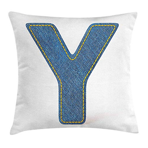 Letter Y Throw Pillow Cushion Cover, ABC of Vintage Fashion Theme Jeans Fabric Denim Texture and Uppercase Y Image, Decorative Square Accent Pillow Case, 18 X 18 inches, Blue Yellow -