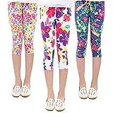 Ehpow Mädchen Leggings Stretch Printed Leggings Hose Kinderhose Für Alter 4-13 Jahre (Länge: 28,35 inch/Alter: 6-7 Jahre, 3/4 Länge Set1)