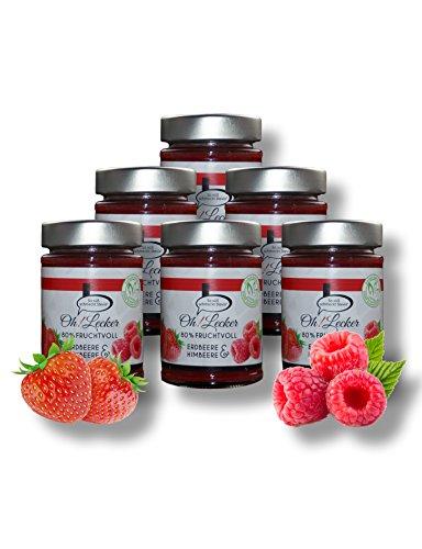 Aktion-Set 6 x 180g low-carb 80% Frucht Erdbeere-Himbeere Stevia Fruchtaufstrich von Oh! Lecker| ohne Zucker-Zusatz| mit zuckerfreier Süße| Glutenfrei| Vegan| ohne Konservierungstoffe| paleo| keto