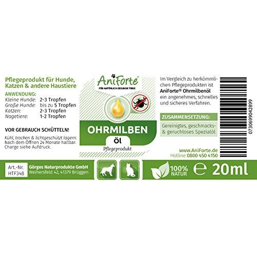 AniForte Ohrmilbenöl 20 ml bei Ohrmilben- Naturprodukt für Hunde, Katzen und andere Haustiere - 2