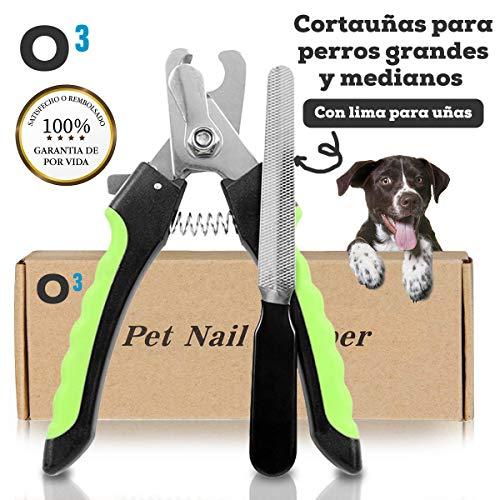 O³ PETS Cortauñas Perro Grande y Mediano Con Lima – Para Mascotas Domesticas | Cortauñas Perro De Acero Inoxidable Con Caja De Almacenamiento| Durable – Ligero – Uso Fácil| Instrucciones En Español