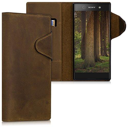 kalibri-Hlle-fr-Sony-Xperia-XA1-Ultra-Echtleder-Wallet-Case-Schutzhlle-mit-Fach-und-Stnder-in-Braun