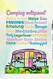 Schatzmix Camping entspannt, Urlaub, Freude, alte Caravan, Lagerfeuer Metal Sign deko Schild Blech Garten