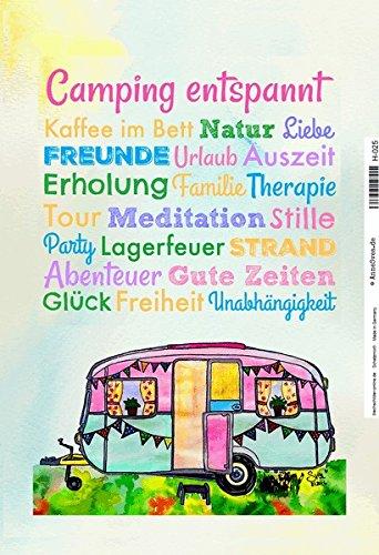 Camping entspannt, urlaub, freude, alte caravan, lagerfeuer schild aus blech, metal sign, tin