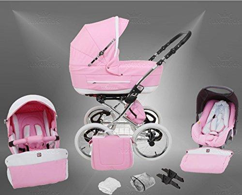 True Love Classic One Plus Kinderwagen Safety-Sommer-Set (Sonnenschirm, Autositz & ISOFIX Basis, Regenschutz, Moskitonetz, Speichenluftreifen) 03 Eco Rosa Creme