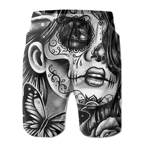 Azfaiop Mens 3D Printed Girl Flower Sugar Skull Funny Swim Trunks Quick Dry Beachwear Sports Running Swim Board Shorts XX-L -