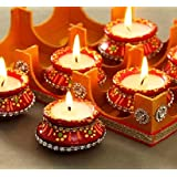Ein Sof Paraffin Wax Matka Diyas,10 Hour Burning Amrit Kalash (Set of 12)