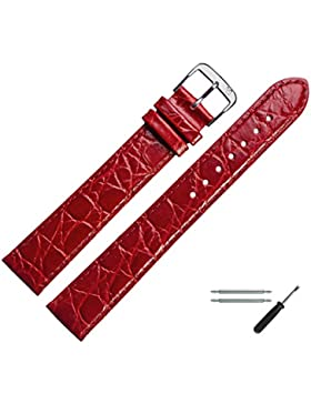 Uhrenarmband 18mm XL Leder Rot - Krokoprägung, Extra Lang, Mit Naht - Inkl. Federstege / Werkzeug - Uhrenband...