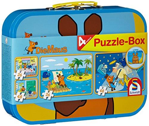Schmidt Spiele 55597 Sendung Maus, Puzzle-Box im Metallkoffer, 2x26 2x48 Teile Kinderpuzzle, bunt (Schritt 2 Toy Box)