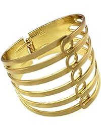 Mes-Bijoux-Bracelets Bracelet Manchette Plaqué Or Jaune 750 000 18ct Cadeau  Femme Bijou Fantaisie Haut de Gamme Anneaux Multiples Jaune wz… 3acd5416d2d5