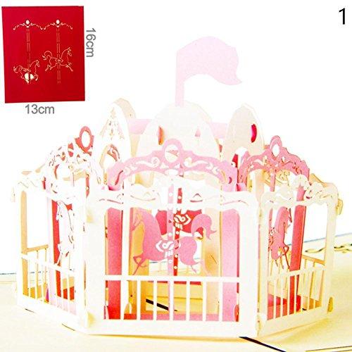Kreative Grußkarte Cool Ring Greeting Card 3D Grußkarten Hollow Custom Weihnachtsbrief Karte Karussell Geburtstag Wünsche Karte (Pink)