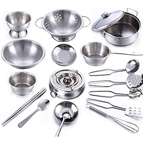 Cookware Set, Wolfbush 18Pcs Stainless Steel Kitchenware Cookware Kitchen Utensils Children Kids Simulation Cooking Games Playset Cookware Set - Silver