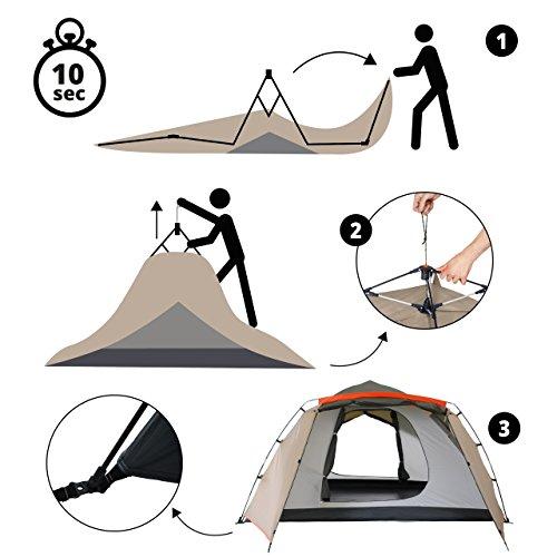 Lumaland Outdoor Pop up Familienzelt Wurfzelt 6 Personen Zelt Camping Festival Etc. 315 x 245 x 170 cm robust Grün - 6