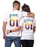 King Queen T-Shirt Set für Paar Tropic Auflage König Königin Partner Look Pärchen Shirt Geburtstagsgeschenk 2 Stücke (Weiß, King-M + Queen-S)
