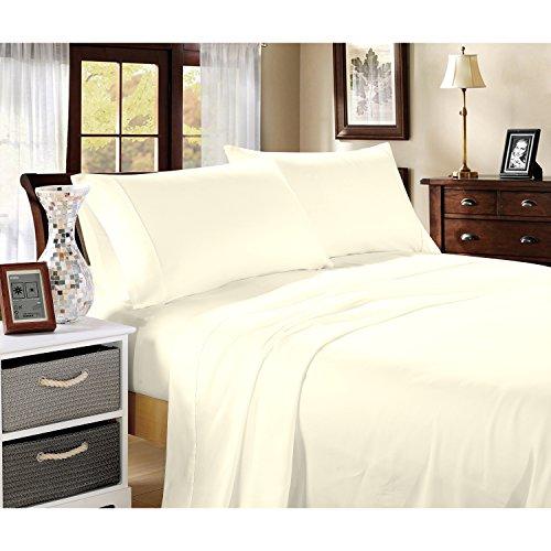 400Fadenzahl 100% Baumwolle Blatt Set Bright Weiß, elfenbeinfarben, King Size