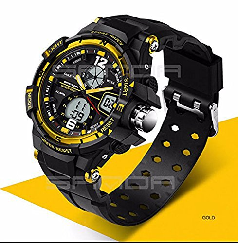 Sport Armbanduhr Herren 2016 Uhr Stecker LED Digital Quarz Handgelenk Uhren Herren Top Marke Luxus digital-watch relogio Masculino, gold