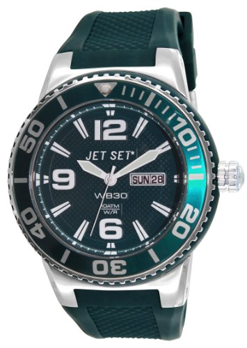 Jet Set–J55454-01Wb30Rubber Strap Unisex Watch–Analogue Quartz–Green Dial–Green