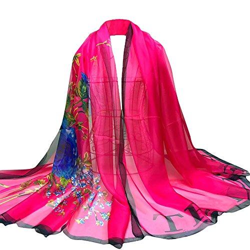 Long Peony Chiffon scarf scarf shawl,Lady Flower Floral Long Wrap Women's Shawl Chiffon Scarf (Heißes Rosa) (Silk Scarve Chiffon)