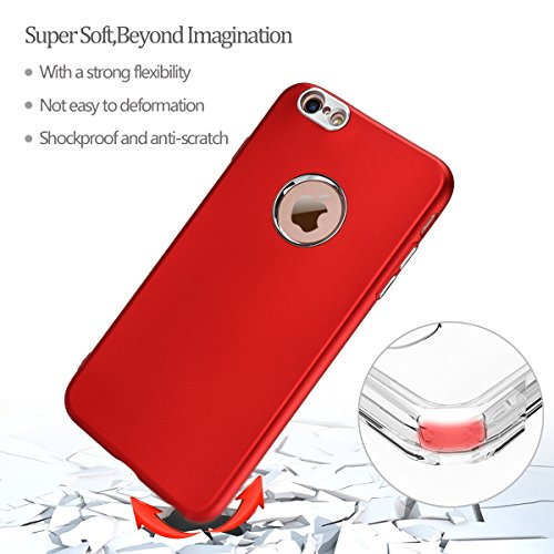 iPhone 6/6S Hülle, E-Lush TPU Soft Silikon Tasche Transparent Schale Clear Klar Hanytasche für iPhone 6/6S Durchsichtig Rückschale Ultra Slim Thin Dünne Schutzhülle Weiche Flexibel Handyhülle Kratzfes Rot