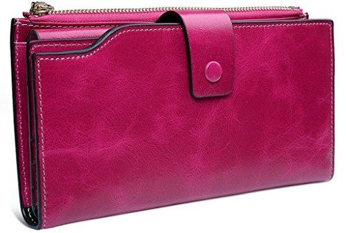 Vancoo - portafoglio da donna in vero cuoio, con cera di lusso e grande capacità, provvisto di chiusura lampo (rose red)