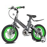 Bicicletas Infantiles 12 14 16 18in,Unisex Bicicleta BMX Freestyle,Freno de Disco,Material de Aleación de Magnesio,Adecuado para niños de 2 a 12 años,Green,14in