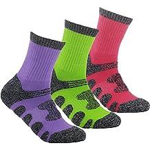 YUEDGE 3 Pares Mujeres Calcetines de Senderismo Trekking anti ampollas Transpirables Corriendo Calcetines Deportivos (Púrpura/Rosa/Verde)
